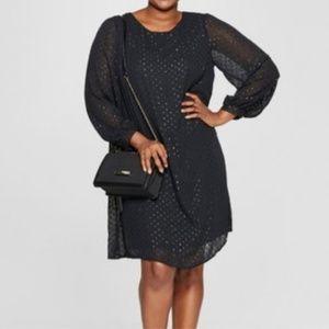 Ava & Viv Size 1X Black Polka Dot Dress